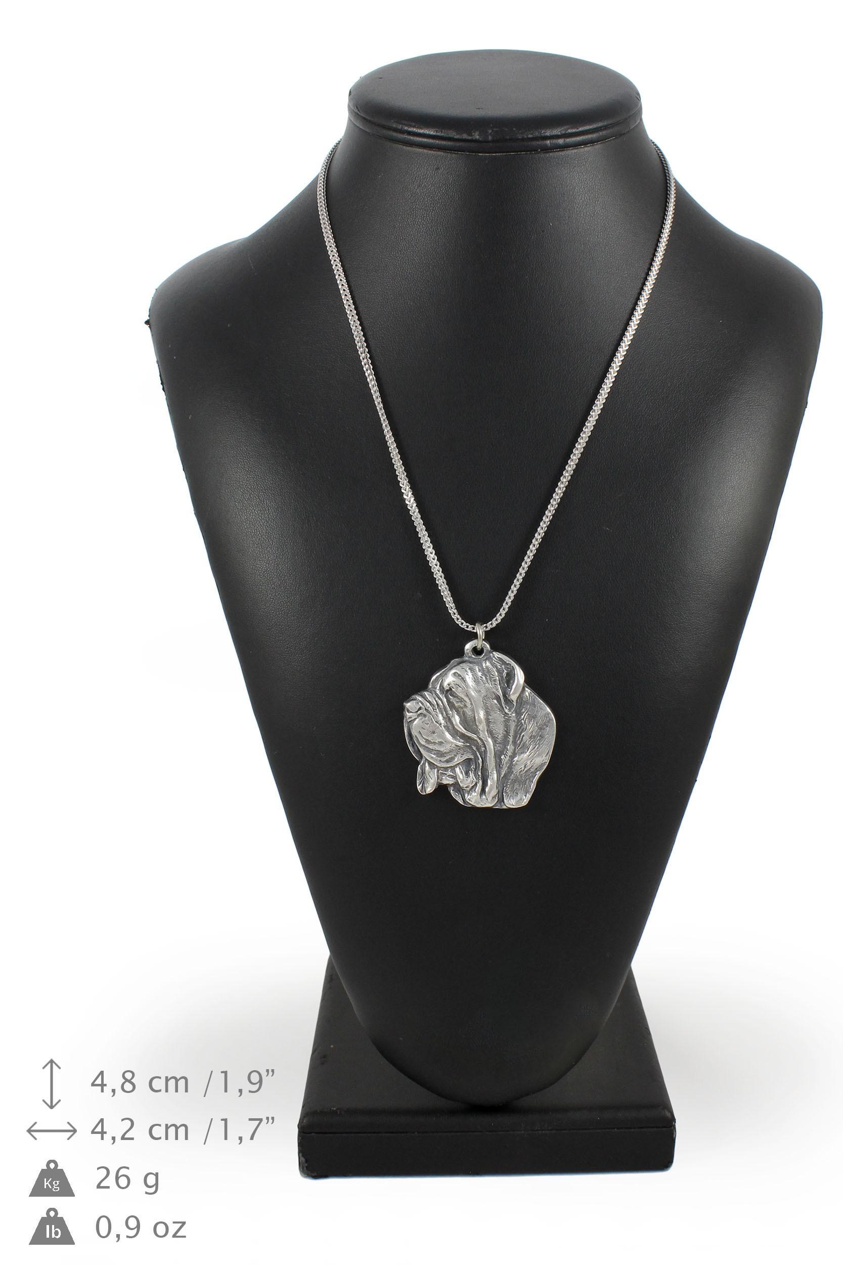 Mâtin napolitain - silver plaqué collier sur une cordon en silver Art Dog FR