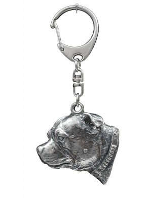 Staffordshire Bull Terrier - keyring (silver plate) - 1107