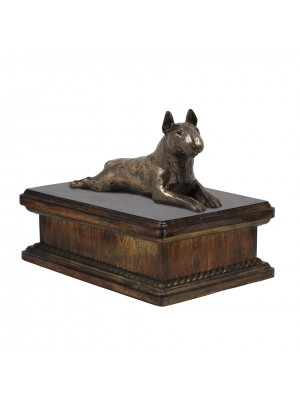 Bull Terrier lying - exlusive urn