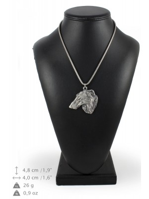 Barzoï Russian Wolfhound - necklace (silver cord) - 3166 - 33042