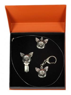 Chihuahua - keyring (silver plate) - 2277 - 23483