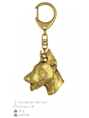 Doberman pincher - keyring (gold plating) - 811 - 25097
