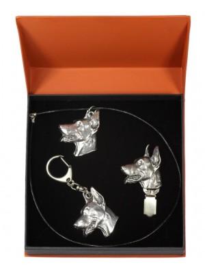 Doberman pincher - keyring (silver plate) - 2259 - 22877