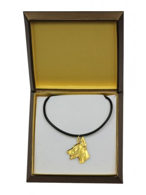 Doberman pincher - necklace (gold plating) - 2480 - 27639