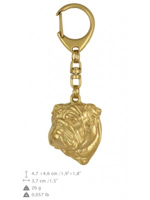 English Bulldog - keyring (gold plating) - 799 - 25052