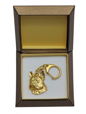 French Bulldog - keyring (gold plating) - 2430 - 27301