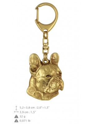 French Bulldog - keyring (gold plating) - 823 - 25127