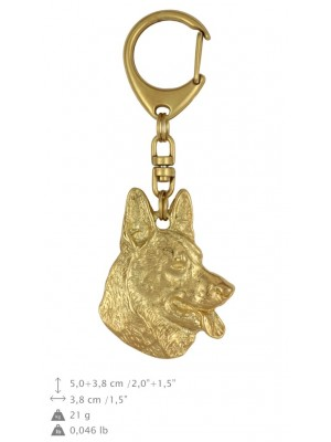 German Shepherd - keyring (gold plating) - 792 - 25032