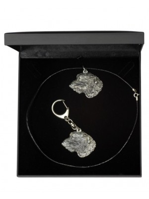Irish Wolfhound - keyring (silver plate) - 1809 - 12085
