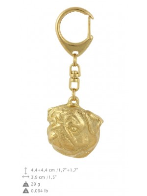 Pug - keyring (gold plating) - 2837 - 30190