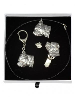 Staffordshire Bull Terrier - keyring (silver plate) - 2081 - 18153