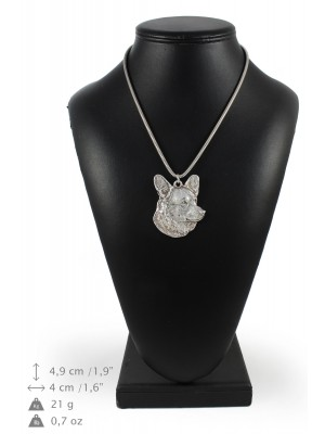 Welsh Corgi Cardigan - necklace (silver chain) - 3336 - 34483