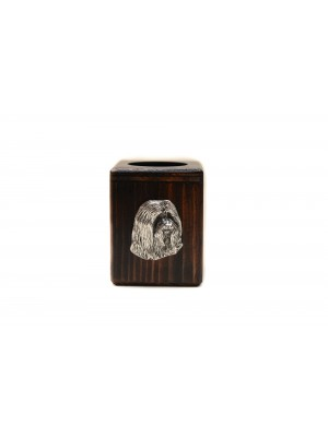 Bearded Collie - candlestick (wood) - 3907