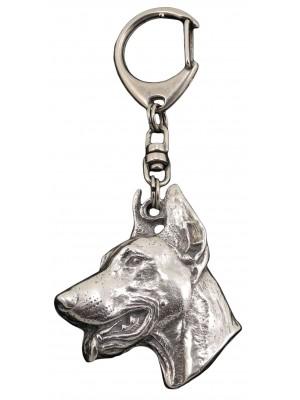 Doberman pincher - keyring (silver plate) - 48