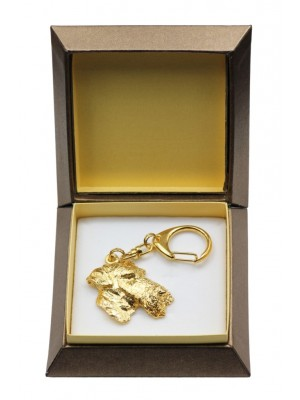 Airedale Terrier - keyring (gold plating) - 2885 - 30551