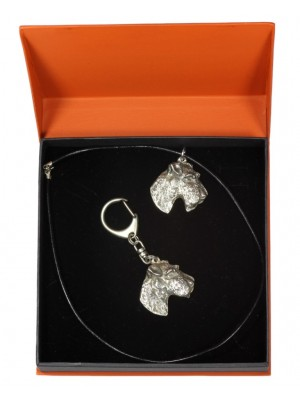 Airedale Terrier - keyring (silver plate) - 2189 - 20903