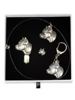 American Staffordshire Terrier - keyring (silver plate) - 2078 - 18053