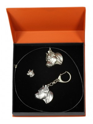 American Staffordshire Terrier - keyring (silver plate) - 2304 - 24378