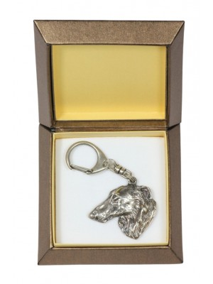 Barzoï Russian Wolfhound - keyring (silver plate) - 2738 - 29857