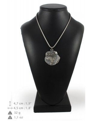 Belgium Griffon - necklace (silver chain) - 3298 - 34334