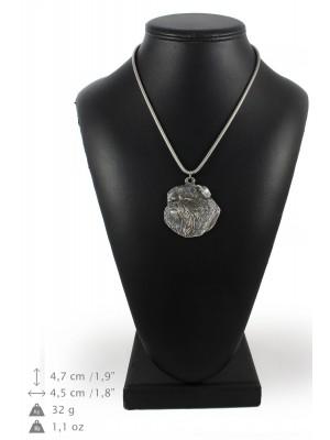 Belgium Griffon - necklace (silver cord) - 3176 - 33095
