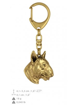 Bull Terrier - keyring (gold plating) - 870 - 25262