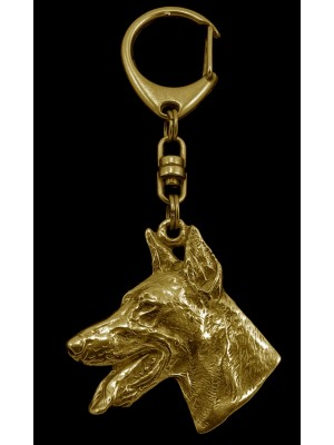 Doberman pincher - keyring (gold plating) - 878 - 4003