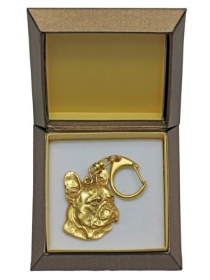 French Bulldog - keyring (gold plating) - 2415 - 27286