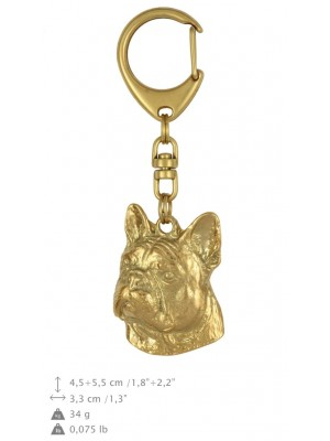 French Bulldog - keyring (gold plating) - 846 - 25207