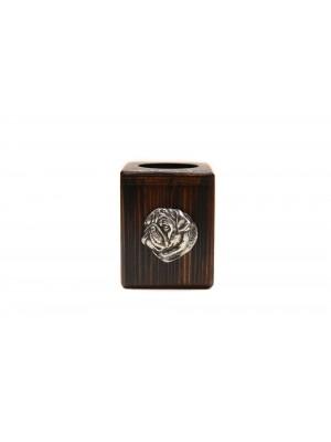 Pug - candlestick (wood) - 3884