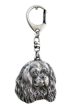 avalier King Charles Spaniel - keyring (silver plate) - 71