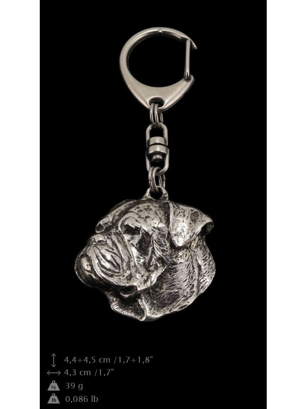 American Bulldog - keyring (silver plate) - 105 - 9377