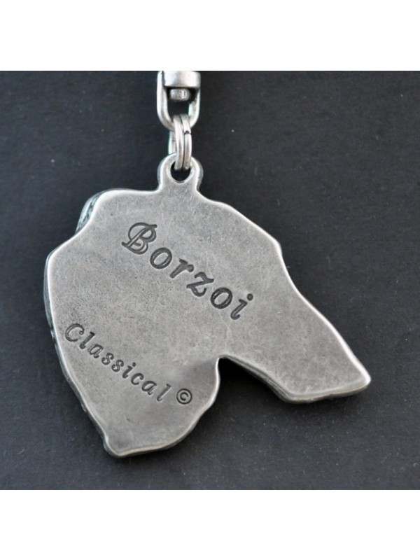 Barzoï Russian Wolfhound - keyring (silver plate) - 42 - 261