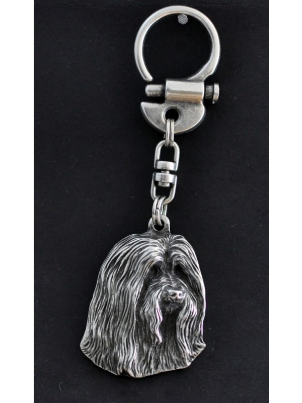 Bearded Collie - keyring (silver plate) - 34 - 220