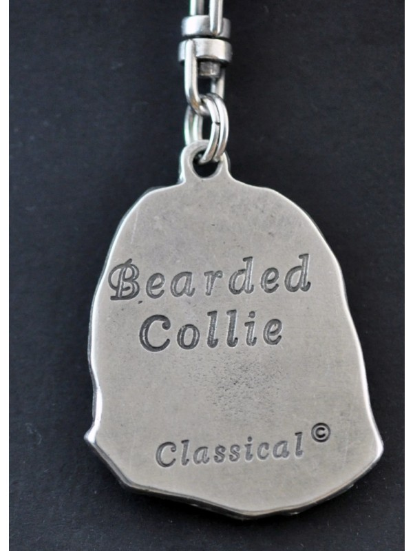 Bearded Collie - keyring (silver plate) - 34 - 222