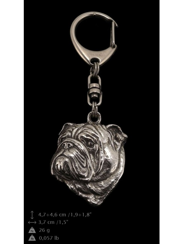 English Bulldog - keyring (silver plate) - 36 - 9252