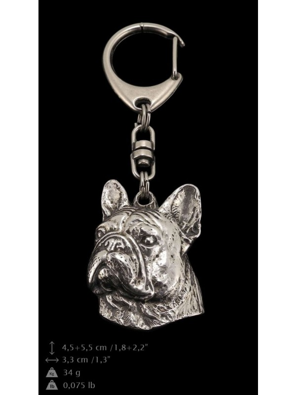 French Bulldog - keyring (silver plate) - 81 - 9344
