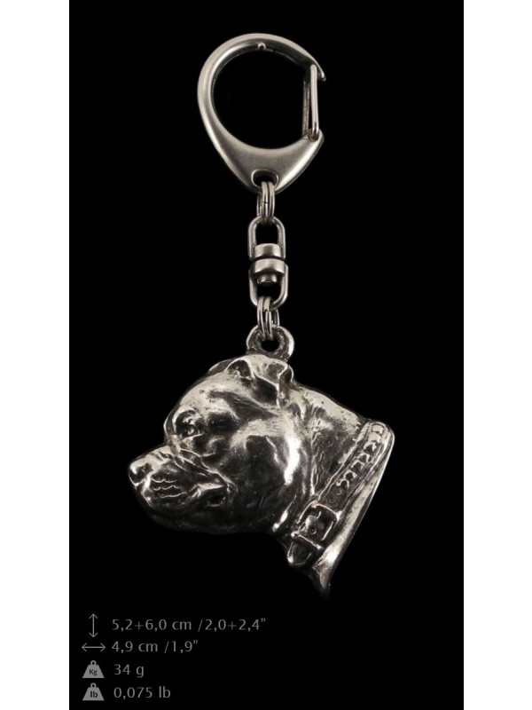 Staffordshire Bull Terrier - keyring (silver plate) - 63 - 9309