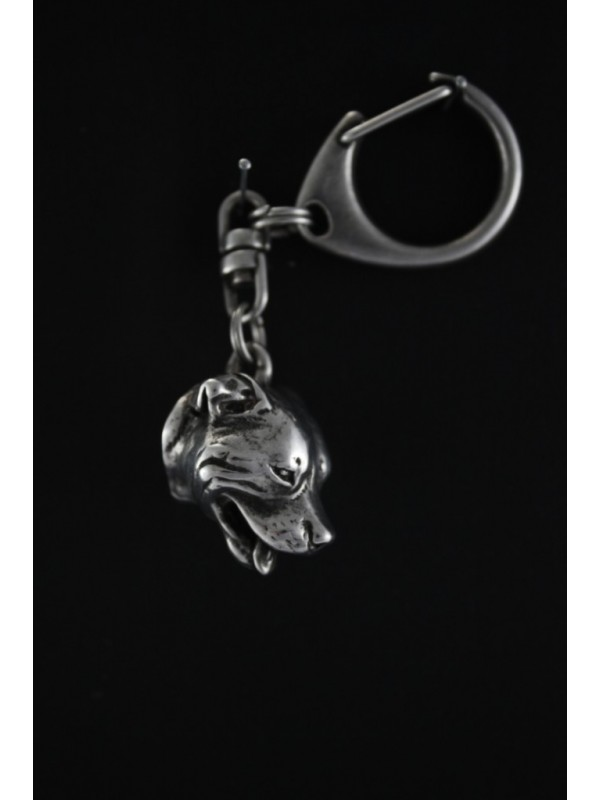 Staffordshire Bull Terrier - keyring (silver plate) - 67 - 392