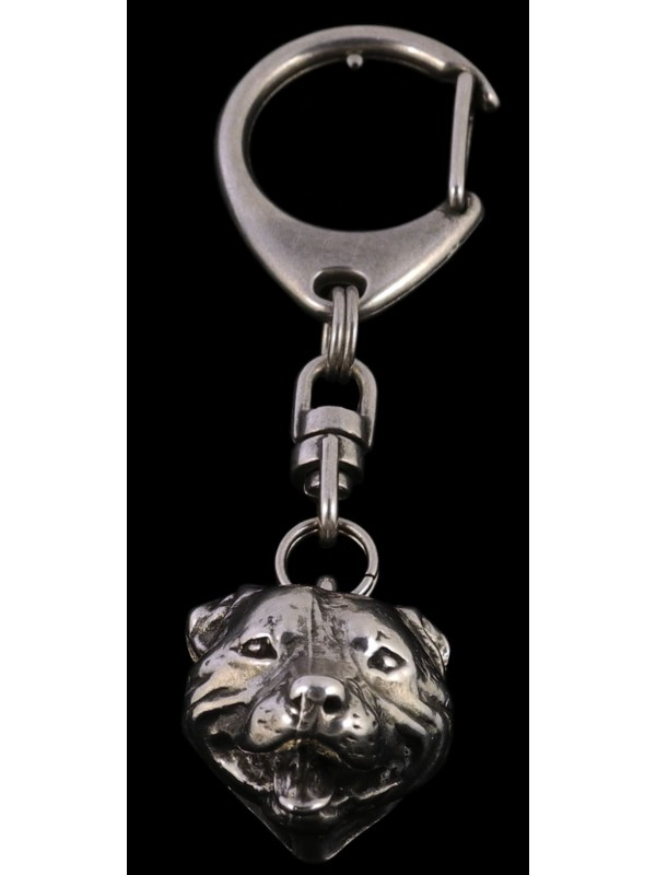 Staffordshire Bull Terrier - keyring (silver plate) - 67 - 394
