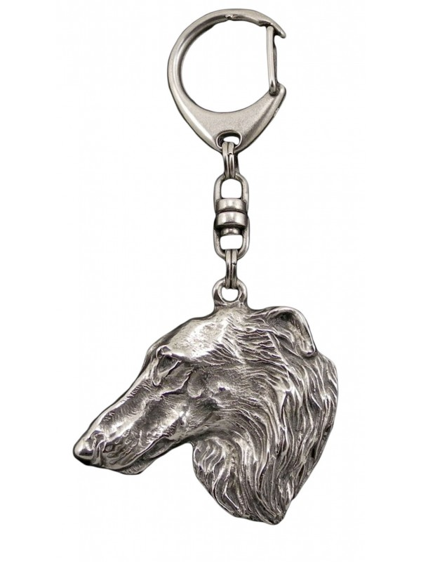 Barzoï Russian Wolfhound - keyring (silver plate) - 42