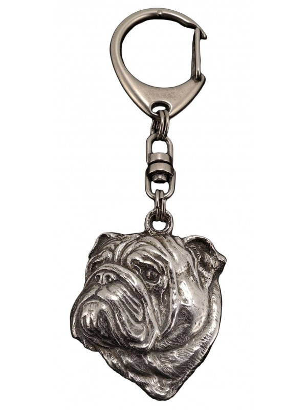 English Bulldog - keyring (silver plate) - 36