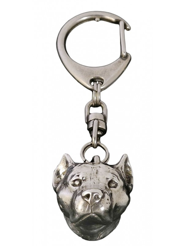 American Staffordshire Terrier2 silver covered keyring high qauality keychain