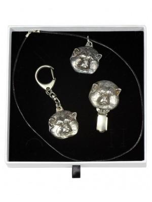 Akita Inu - keyring (silver plate) - 2052 - 17272