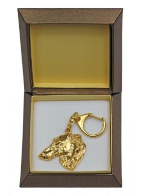 Barzoï Russian Wolfhound - keyring (gold plating) - 2404 - 27275
