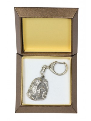 Bearded Collie - keyring (silver plate) - 2732 - 29851