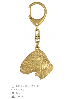 Bedlington Terrier - keyring (gold plating) - 841 - 25184