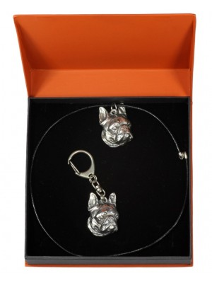 Boston Terrier - keyring (silver plate) - 2151 - 19979