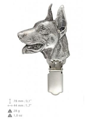 Doberman pincher - clip (silver plate) - 253 - 26248