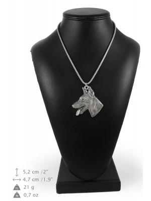 Doberman pincher - necklace (silver cord) - 3258 - 33423